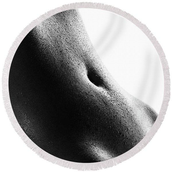 Woman's Abdomen Full Of Sweat Round Beach Towel