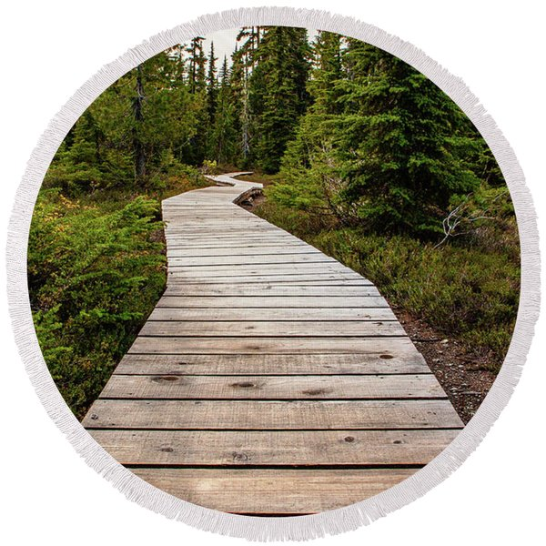 Wooden Walkway Round Beach Towel