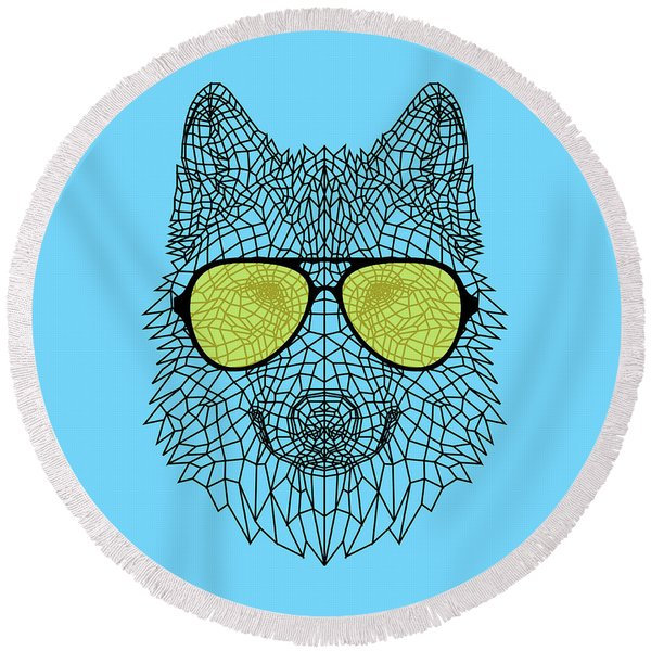 Woolf In Yellow Glasses Round Beach Towel