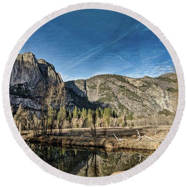 Yosemite Reflection Round Beach Towel