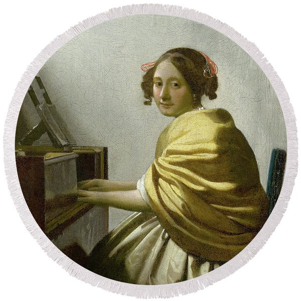 A Young Woman Seated At The Virginals Round Beach Towel