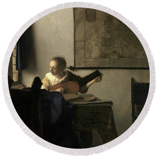 Young Woman With A Lute, 1663 Round Beach Towel