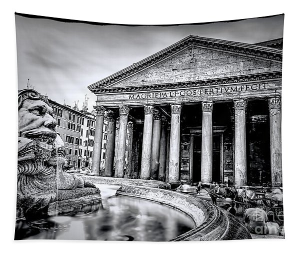 0786 The Pantheon Black And White Tapestry