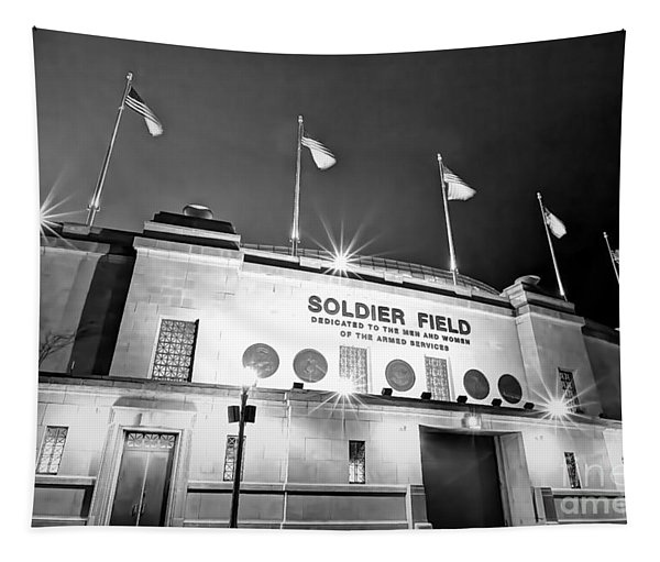 0879 Soldier Field Black And White Tapestry
