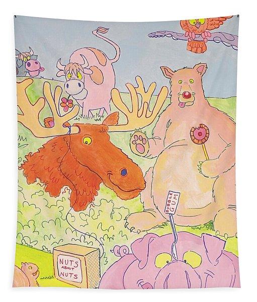 Cartoon Animals Tapestry