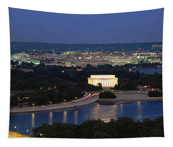 High Angle View Of A City, Washington Tapestry
