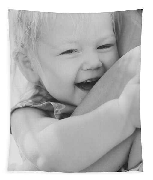 Hugging Mother And Daughter In Black And White Tapestry
