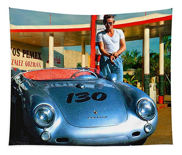 James Dean Filling His Spyder With Gas Tapestry