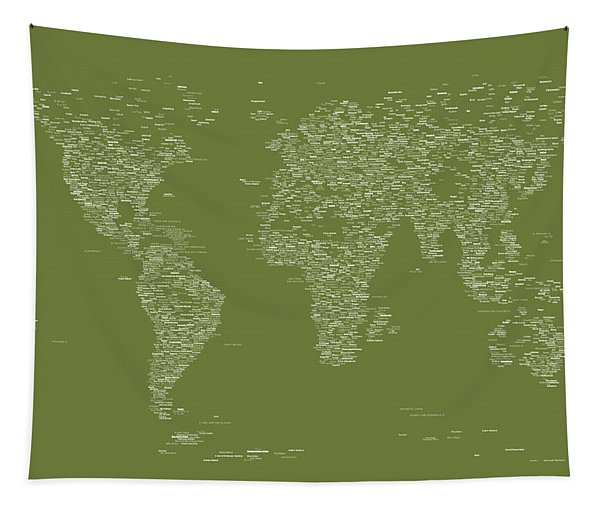 World Map Of Cities Tapestry