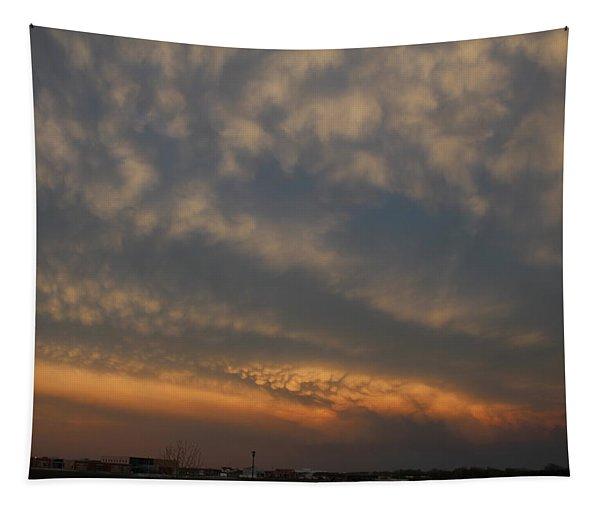 Tapestry featuring the photograph Nebraska Mammatus Sunset by NebraskaSC