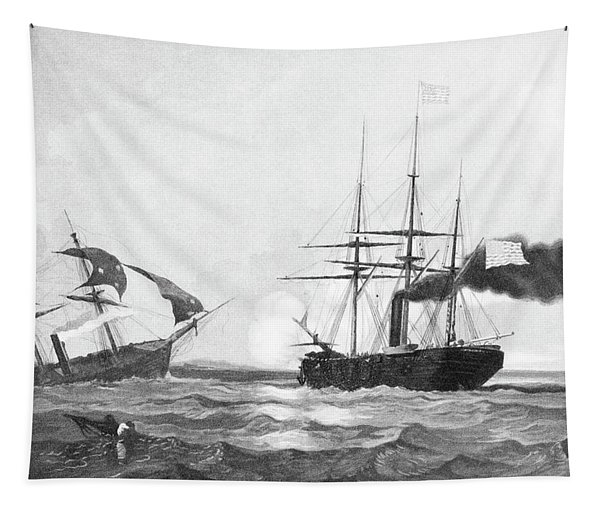 1860s June 19 1864 Css Alabama Sinking Tapestry