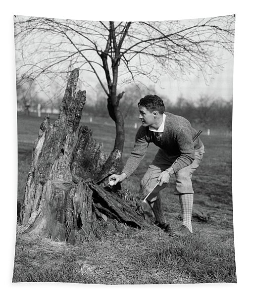 1930s Man Golfer Taking Golf Ball Tapestry