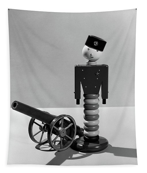 1930s Wooden Toy Soldier Next To Cannon Tapestry