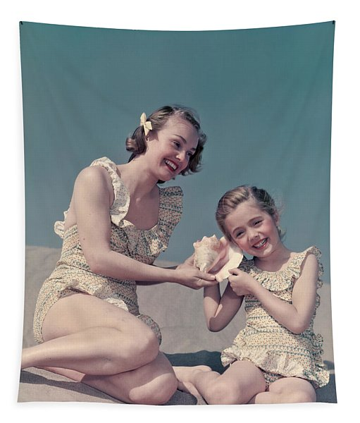 1940s 1950s Smiling Mother Daughter Tapestry