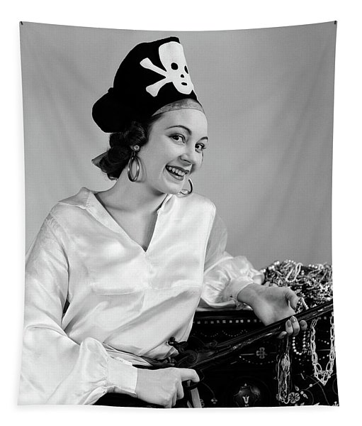 1940s Woman Wearing Pirate Costume Tapestry