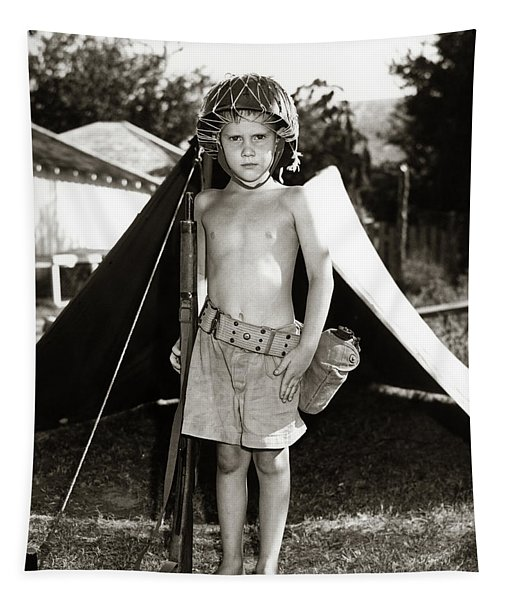 1950s Boy Playing Soldier Standing Tapestry