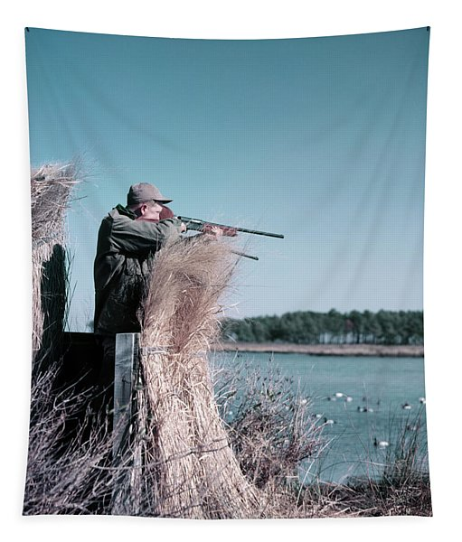 1950s Man Behind Grass Duck Blind Tapestry