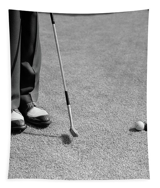1950s Man Knees Down Putt On Golf Green Tapestry