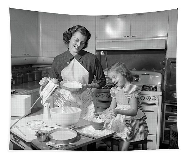 1950s Mother & Daughter Baking A Cake Tapestry