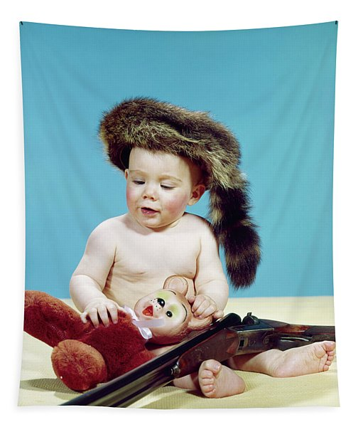1960s Baby Boy Wearing Coonskin Cap Tapestry