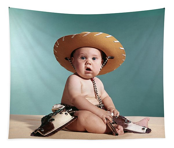 1960s Baby Wearing Cowboy Costume Tapestry