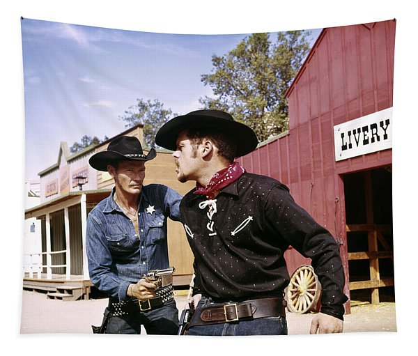 1960s Cowboy Sheriff With Badge Draws Tapestry