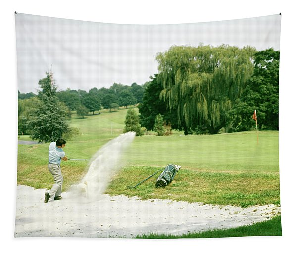 1960s Man Golfer Hitting Ball Tapestry