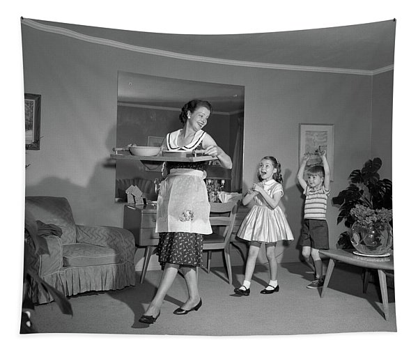 1960s Mother Walking With Tray Of Snack Tapestry