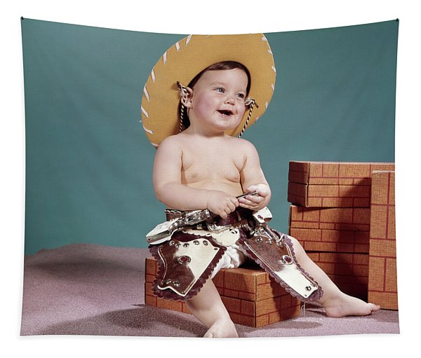 1960s Smiling Baby Wearing Cowboy Hat Tapestry