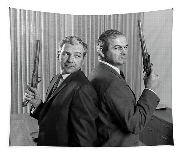 1960s Two Middle Aged Angry Businessmen Tapestry