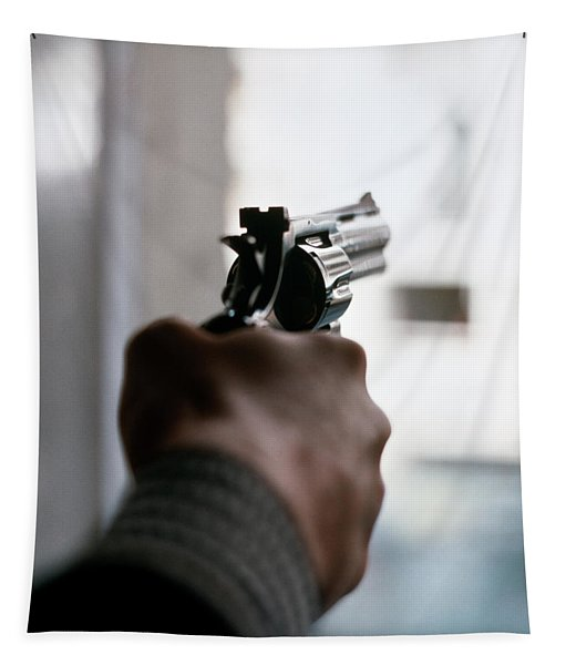 1970s Male Hand Aiming Revolver Tapestry