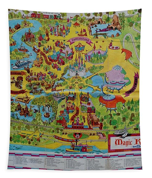 1971 Original Map Of The Magic Kingdom Tapestry