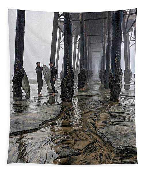 Fog At The Pier Tapestry