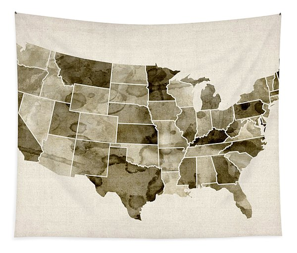 United States Watercolor Map Tapestry