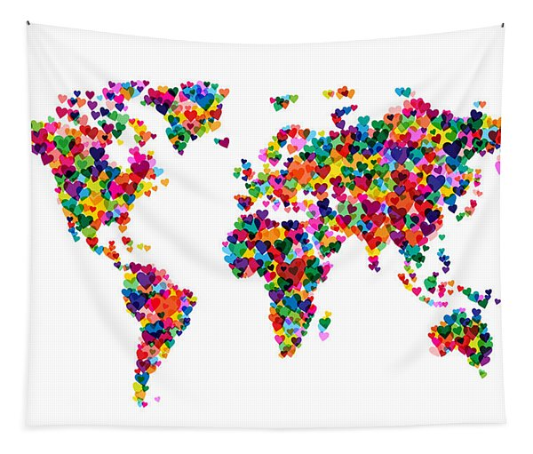 Love Hearts Map Of The World Map Tapestry