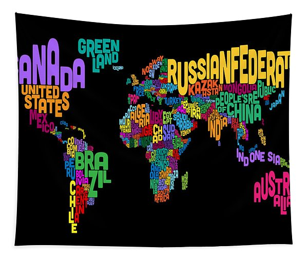 Text Map Of The World Map Tapestry