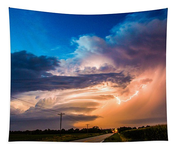 Tapestry featuring the photograph Wicked Good Nebraska Supercell by NebraskaSC