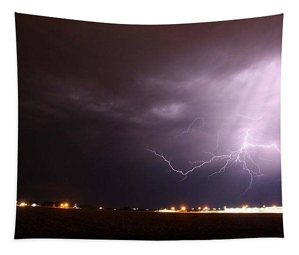 Tapestry featuring the photograph Round 2 More Late Night Servere Nebraska Storms by NebraskaSC