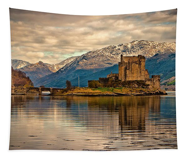 A Reflection At Eilean Donan Castle Tapestry