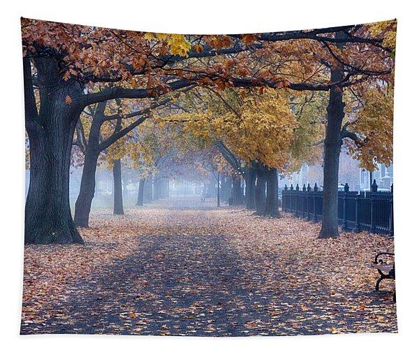 A Walk In Salem Fog Tapestry