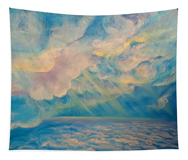 Above The Sun Splashed Clouds Tapestry