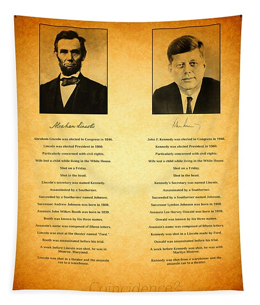 Abraham Lincoln And John F Kennedy Presidential Similarities And Coincidences Conspiracy Theory Fun Tapestry