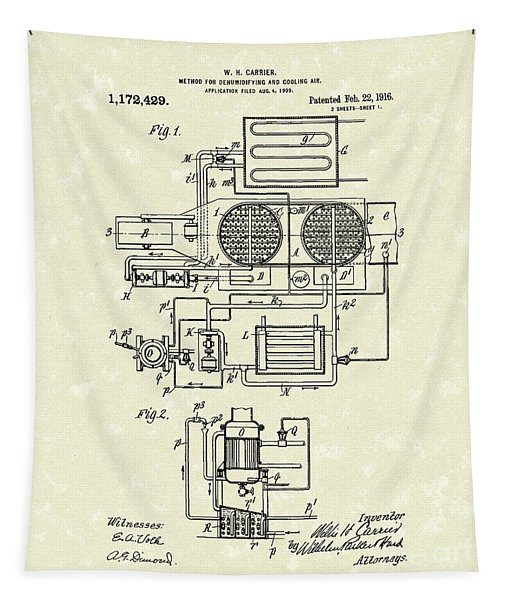 Air Conditioner 1916 Patent Art Tapestry
