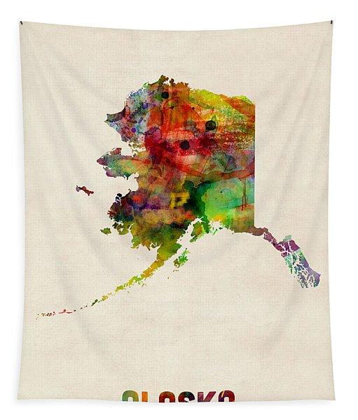 Alaska Watercolor Map Tapestry