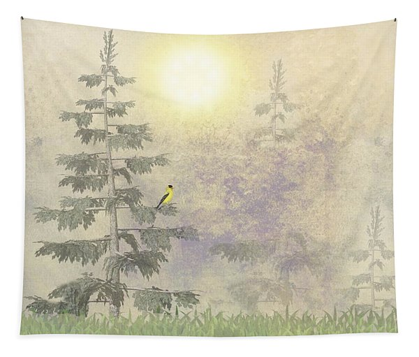 American Goldfinch Morning Mist  Tapestry