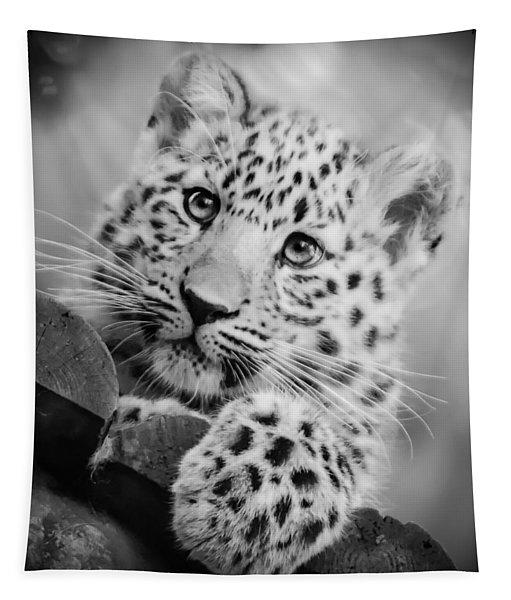 Amur Leopard Cub Portrait Tapestry