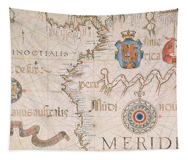 Antique Map Of Peru And The Amazon Tapestry