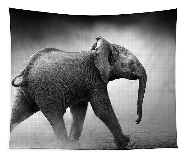 Baby Elephant Running Tapestry