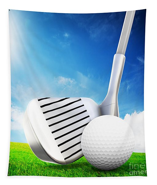 Ball On Tee A Golf Club Tapestry