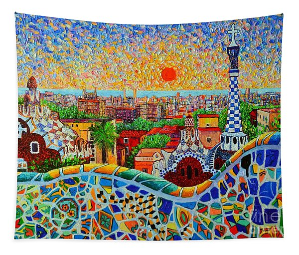 Barcelona View At Sunrise - Park Guell  Of Gaudi Tapestry